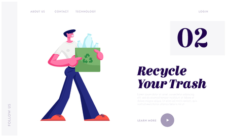 Man Carry Bag with Recycle Sign Full of Plastic Bottles Trash, Stop Pollution Concept, Ecology Protection, Recycling Solution Website Landing Page, Web Page Cartoon Flat Vector Illustration, Banner
