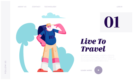 Senior Tourist with Backpack in City Trip, Elderly Traveling Man with Photo Camera Travel at Summer Time in Foreign Country Website Landing Page, Web Page. Cartoon Flat Vector Illustration, Banner