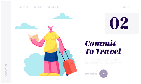 Senior Tourist Female Character with Luggage Watching Map in City Trip, Elderly Woman Searching Right Way in Foreign Country Website Landing Page, Web Page. Cartoon Flat Vector Illustration, Banner