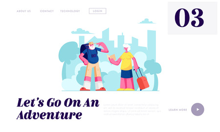 Aged Couple Voyage, Senior Tourists, Elderly Traveling People with Photo Camera and Luggage Search Right Way in Foreign Country Website Landing Page, Web Page. Cartoon Flat Vector Illustration, Banner