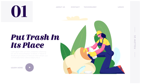 Ecology Protection, Volunteer Woman Collecting Trash to Sack Cleaning Garbage in Park. Volunteering, Charity Social Concept, Website Landing Page, Web Page. Cartoon Flat Vector Illustration, Banner 写真素材 - 124339167