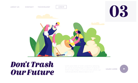 Ecology Protection, Volunteer People Cleaning Garbage in City Park. Volunteering, Men and Women Collect Trash to Sacks, Charity Website Landing Page, Web Page. Cartoon Flat Vector Illustration, Banner Illustration