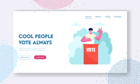 Man Put Paper Vote into Ballot Box Showing Victory Gesture. Male Character Execute Rights and Duties in Political Country Life Website Landing Page, Web Page. Cartoon Flat Vector Illustration, Banner Illustration