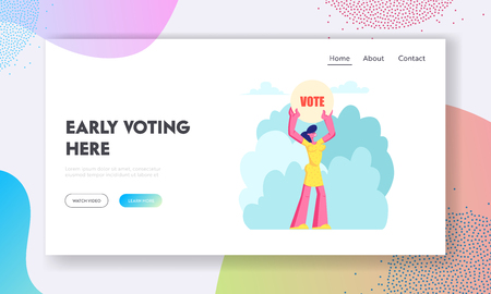 Female Character Holding Vote Banner in Hands, Law-abiding Citizen Execute Rights and Duties in Political Life of Country Website Landing Page, Web Page. Cartoon Flat Vector Illustration, Banner Illustration
