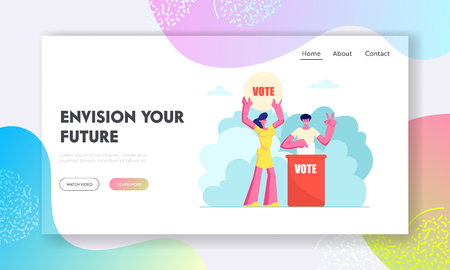 People Putting Paper Vote into Ballot Box. Male and Female Characters, Execute Rights and Duties in Political Life of Country Website Landing Page, Web Page. Cartoon Flat Vector Illustration, Banner