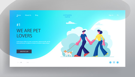 Loving Couple Walking with Dog, Holding Hands in Public City Park. People Spending Time with Pets Outdoors Relax, Leisure, Website Landing Page, Web Page. Cartoon Flat Vector Illustration, Banner  イラスト・ベクター素材