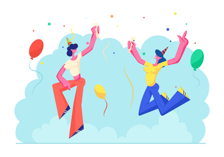 Cute Cheerful Girls Jumping with Hands Up in Festive Hats Holding Wine Glasses Celebrating Birthday Party Holiday on Colorful Background with Balloons and Confetti. Cartoon Flat Vector Illustration