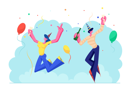 Birthday Party Celebration. Cheerful People in Festive Hats with Wine Bottle and Glass in Hands Celebrating Holiday on Colorful Background with Balloons and Confetti. Cartoon Flat Vector Illustration