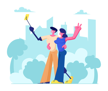 Disabled Man and Woman with Leg and Arm Prosthesis Making Selfie on Cityscape Background, Motivation and Bodypositive Concept. Invalids Family or Friends Couple, Love. Cartoon Flat Vector Illustration