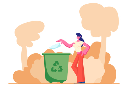 Female Character Throwing Trash into Litter Bin Container with Recycling Sign. Ecology Protection, Earth Pollution Problem, Woman Eco Activist, Plastic Reuse Solution Cartoon Flat Vector Illustration  イラスト・ベクター素材