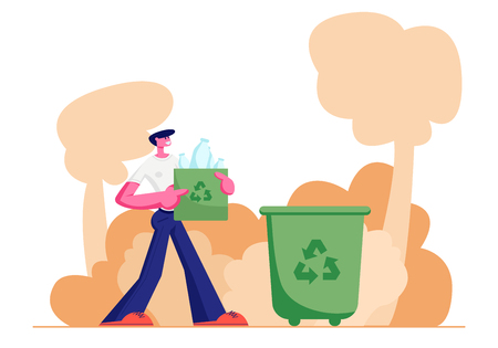 Young Man Carry Bag with Recycle Sign Full of Plastic Bottles Trash to Litter Bin on Street, Stop Pollution Concept, Ecology Protection Problem, Recycling Solution. Cartoon Flat Vector Illustration