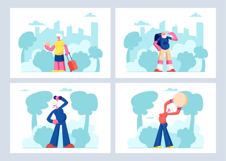 Elderly People Open Air Workout and Traveling Set. Senior Men and Women Characters Doing Exercises Outdoors Together, Having Fun in Trip, Fitness Healthy Lifestyle. Cartoon Flat Vector Illustration  イラスト・ベクター素材