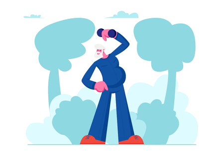 Happy Senior Man Training in Park with Dumbbells, Elderly Sportsman Workout, Pensioner Healthy Lifestyle, Aged Man Open Air Exercising, Engage Sport Hobby Outdoors. Cartoon Flat Vector Illustration  イラスト・ベクター素材