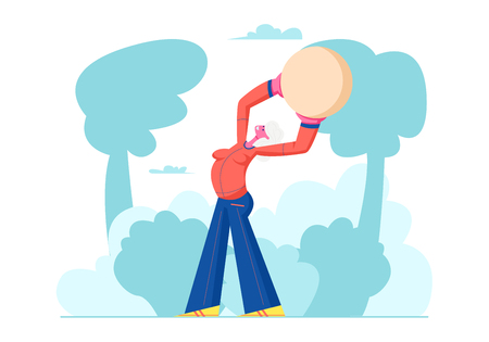 Happy Pensioner Woman Healthy Lifestyle, Senior Female Character Exercising with Fit Ball Outdoors, Sport, Aged Woman Engaged Fitness Class in Park, Sports Activity Cartoon Flat Vector Illustration