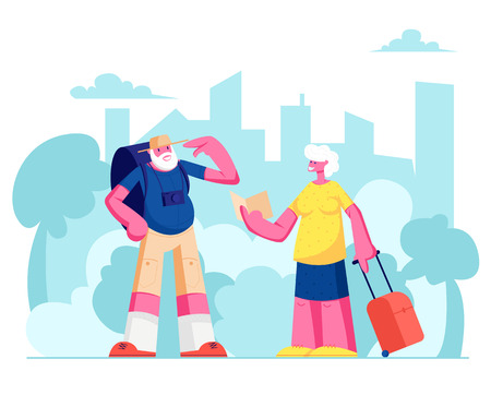 Senior Tourist Characters Watching Map in City Trip, Elderly Traveling People with Photo Camera and Luggage Search Right Way in Foreign Country, Aged Couple Voyage. Cartoon Flat Vector Illustration