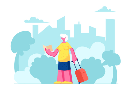 Senior Tourist Female Character with Luggage Watching Map in City Trip, Elderly Traveling Woman Searching Right Way in Foreign Country, Aged Lady in Voyage Abroad. Cartoon Flat Vector Illustration  イラスト・ベクター素材