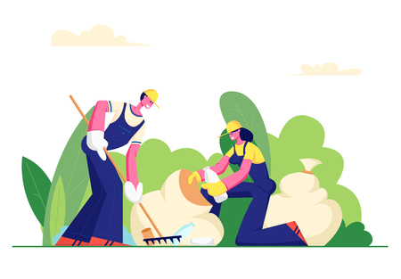 Volunteer People Cleaning Garbage in City Park Area. Volunteering, Men and Women Collecting Trash to Sacks, Racking Ground, Charity Social Concept, Ecology Protection. Cartoon Flat Vector Illustration Illustration