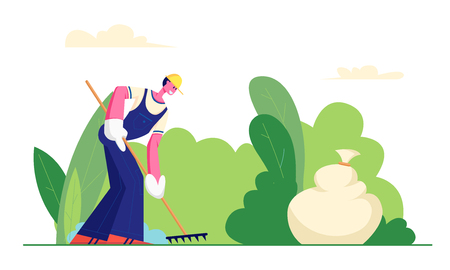 Volunteer Male Character in Working Overall Cleaning Garbage in City Park Area Racking Ground, Collecting Trash to Sack. Volunteering Man, Charity, Ecology Protection. Cartoon Flat Vector Illustration Illustration