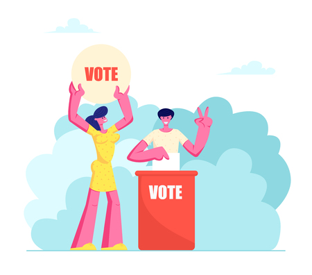 People Putting Paper Vote into Ballot Box. Male and Female Characters, Law-abiding Citizen, City Dwellers Execute their Rights and Duties in Political Life of Country Cartoon Flat Vector Illustration Çizim
