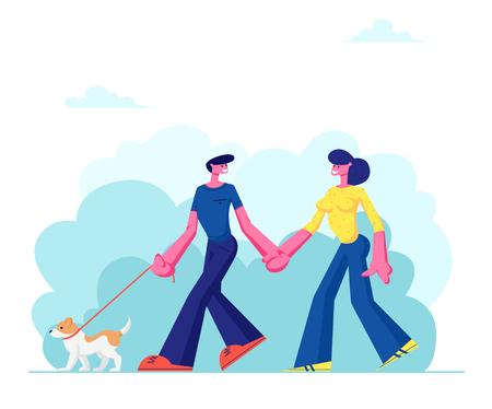 Amorosa pareja caminando con perro, tomados de la mano en el parque público de la ciudad. Personas que pasan tiempo con mascotas al aire libre en verano. Relajarse, Ocio, Comunicación con Animales. Ilustración de Vector plano de dibujos animados