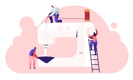 Postacie ściekowe w procesie tworzenia odzieży, krawcowa krawcowa praca przy maszynie do szycia w atelier lub fabryce tkanin, przemysłowa produkcja odzieży tekstylnej, ilustracja kreskówka płaskie wektor