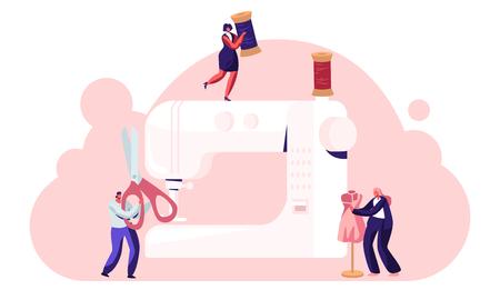 I sarti creano abbigliamento e abbigliamento sulla macchina da cucire, concetto di design della moda, assistente che lavora con il manichino. Atelier Creativo, Artigianato Tessile Sarto. Cartoon piatto illustrazione vettoriale