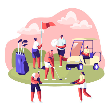 Happy People on Golf Field, Summer Relaxing at Golfclub. Summertime Sports, Outdoor Fun Activity, Healthy Lifestyle. Young Characters with Golf Equipment and Cart. Cartoon Flat Vector Illustration Archivio Fotografico - 128442375