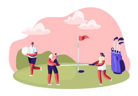 Group of Young People Playing Golf on Course with Green Grass, Flagstick, Hole and Professional Equipment, Sport Game, Tournament, Summer Spare Time, Luxury Recreation Cartoon Flat Vector Illustration