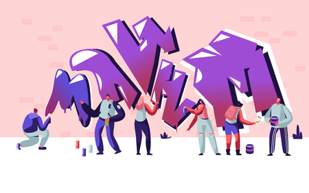 Street Artist Teenagers Painting Graffiti on Brick Wall. Urban Fashion, Teen Lifestyle, Young People Creative Hobby Activity, Men and Women Drawing with Paint Cylinder Cartoon Flat Vector Illustration