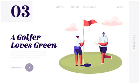 Young Golfers Couple Playing Golf Website Landing Page, Man Golf Player Put Ball into Hole on Green Course, Woman Hold Flag, Countryside Golfclub Web Page, Cartoon Flat Vector Illustration, Banner Archivio Fotografico - 128442395