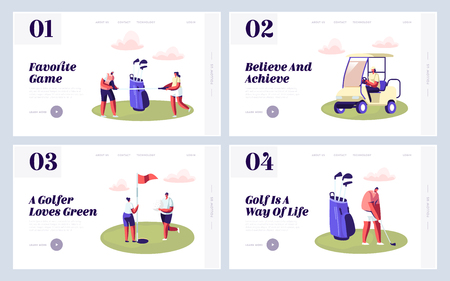 Happy People on Golf Field Website Landing Page Set, Summer Relaxing at Golfclub, Summertime Sports, Outdoor Activity, Characters with Golf Equipment Web Page. Cartoon Flat Vector Illustration, Banner
