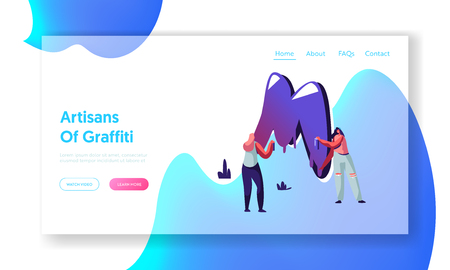 Street Art Grungy Style Website Landing Page, Couple of Teen Girls in Ripped Jeans Painting Graffiti with Dye Balloons, Urban Teenagers Culture, Web Page. Cartoon Flat Vector Illustration, Banner
