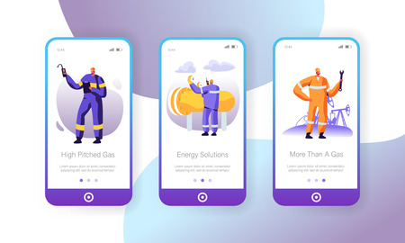 Gas Industry Mobile App Page Onboard Screen Set, Maintenance Service, Gasman Engineering Pipe, Mechanic Adjusting Facility Station, Concept for Website or Web Page, Cartoon Flat Vector Illustration Standard-Bild - 128442411