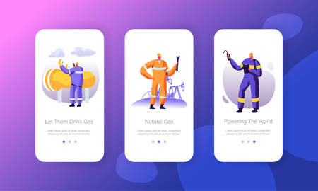 Gas Industry Mobile App Page Onboard Screen Set, Gasman Engineering Pipe, Mechanic Adjusting Facility Station, Maintenance Service Concept for Website or Web Page, Cartoon Flat Vector Illustration Stock Illustratie