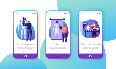 Scientists Create Cyborgs in Laboratory Mobile App Page Onboard Screen Set, Robot Creating Stages Process Robotics Engineer Develop Concept for Website or Web Page, Cartoon Flat Vector Illustration Иллюстрация