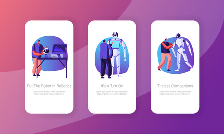 Engineers Characters Making and Programming Robots Mobile App Page Onboard Screen Set. Robotics Hardware and Software Engineering Concept for Website or Web Page, Cartoon Flat Vector Illustration