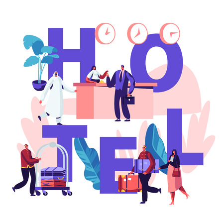 People in Hotel Concept. Reception, Lobby Interior with Stuff Meeting Arabic and European Guests. Characters Arriving to Hotel Poster, Banner, Flyer, Brochure. Cartoon Flat Vector Illustration