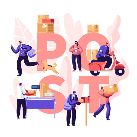 People in Post Office Concept, Postmen Deliver Mail Packages to Customers. Mail Delivery Service, Postage Transportation. Profession. Poster, Banner, Flyer, Brochure. Cartoon Flat Vector Illustration Ilustração