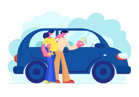Customers Buying Automobile Holding Money in Hands. Young Family Couple of Man and Pregnant Woman Characters Buy New or Second-hand Car in Auto Salon, Happy Purchase, Cartoon Flat Vector Illustration