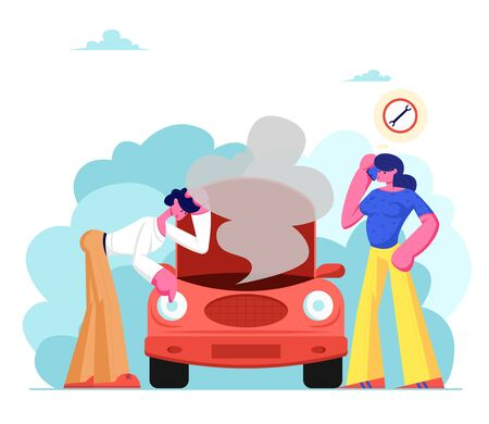 Frustrated Young Couple in Road Accident with Broken Car, Man Looking under Transport Hood with Smoke Going out, Girl Call Mobile Phone to Repair Mechanic Service. Cartoon Flat Vector Illustration Banque d'images - 128442441