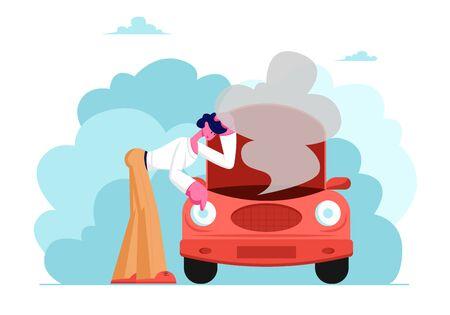 Personnage masculin bouleversé dans un accident de la route avec une voiture cassée, homme regardant sous le capot de transport avec de la fumée sortant, service de mécanicien de réparation, circonstances de force majeure Illustration vectorielle plane de dessin animé