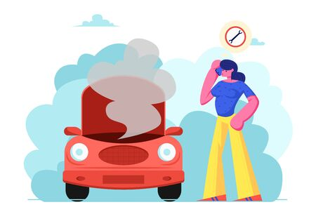 Upset Female Character in Road Accident with Broken Car Call by Mobile Phone to Repair Mechanic Service Standing near Transport with Open Hood and Smoke Going out Cartoon Flat Vector Illustration