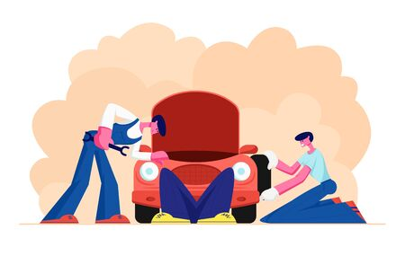 Mechanic Dressed in Blue Overalls Stand near Broken Car with Open Hood Holding Instrument in Hand, Man Lying under Auto, Checking and Maintenance City Repair Service. Cartoon Flat Vector Illustration 版權商用圖片 - 128442446