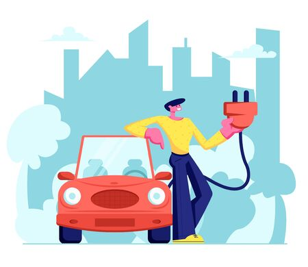 Man Stand near Electrocar Hold Plug in Hands. Eco Transport in City, Ecology Protection, Electro Car, Green Technology, Organic, Healthy Lifestyle, Alternative Energy. Cartoon Flat Vector Illustration