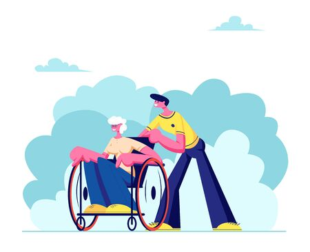 Young Grandson Spend Time with Disabled Grandma Outdoors. Social Worker Care of Sick Senior Woman Sitting in Wheelchair, Family Relations, Healthcare, Medical Aid. Cartoon Flat Vector Illustration