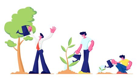 Lebenszyklus, Zeitachse und Wachstumsmetapher, Wachstumsstadien des Baumes vom Samen bis zur großen Pflanze, Baby, kleiner Junge, junger Teenager und erwachsener Mann, der Pflanzen im Garten gießt. Flache Vektorillustration der Karikatur Vektorgrafik