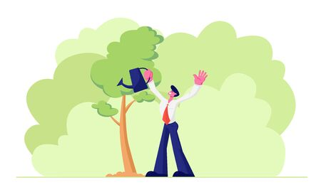 Happy Adult Business Man Character Wearing Formal Suit Watering Trees in Garden with Water Can. Life Cycle, Time Line and Growth Metaphor, Gardening Hobby, Success. Cartoon Flat Vector Illustration Ilustração