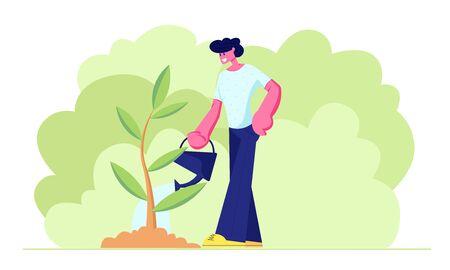 Adolescent heureux, personnage de jeune homme arrosant des semis verts dans le jardin avec un bidon d'eau. Cycle de vie, chronologie et métaphore de la croissance, passe-temps de jardinage, soin des plantes. Illustration vectorielle plane de dessin animé Vecteurs