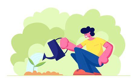 Caractère heureux de petit garçon arrosant la pousse verte dans le jardin avec le bidon d'eau Cycle de vie, chronologie et métaphore de la croissance, passe-temps de jardinage, soins des plantes, protection de l'écologie. Illustration vectorielle plane de dessin animé