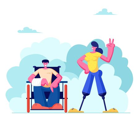 Disabled Man with Broken Hand Sitting on Wheelchair and Woman with Legs Prosthesis Walking Outdoors, Motivation, Bodypositive. Invalids Family or Friends Couple, Love. Cartoon Flat Vector Illustration